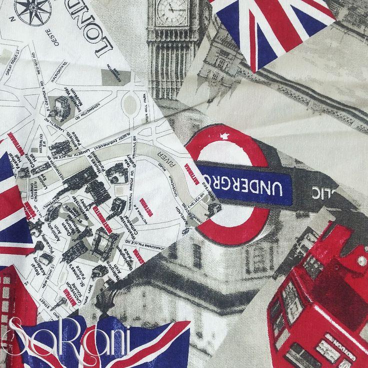 Copriletto Londra Inghilterra Bus Cotone Royal House Gran Foulard 1 - 2 Piazze