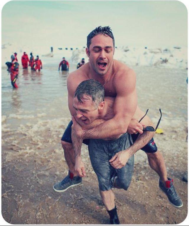 Taylor Kinney and David Eigenberg polar plunge