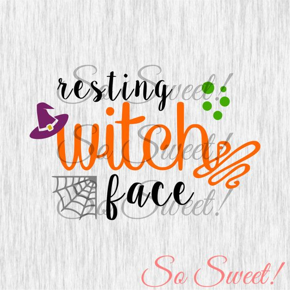 Resting Witch Face SVG / DXF Cut File Silhouette Halloween Svg Dxf Fall Saying…