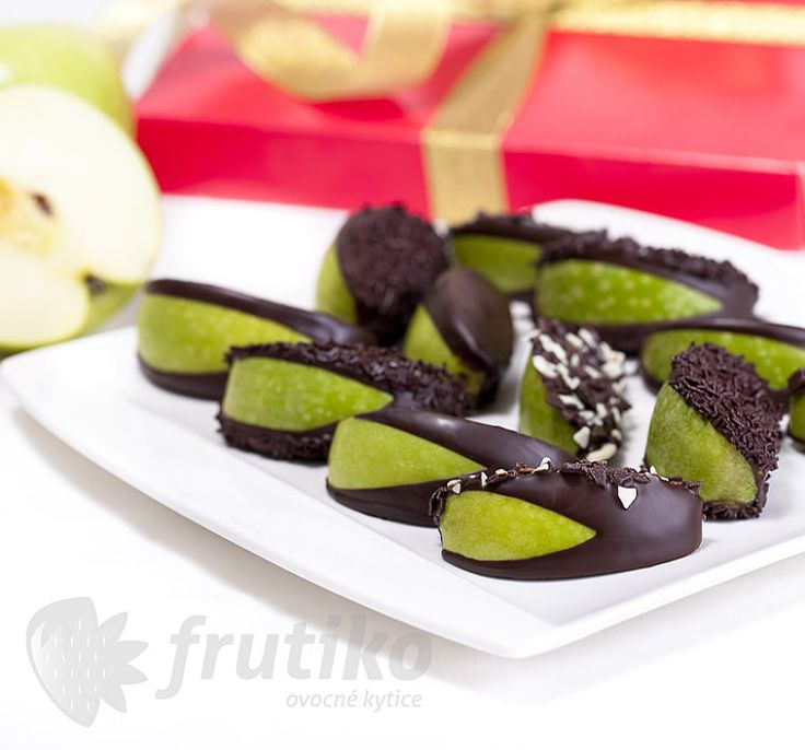 Apples in dark chocolate