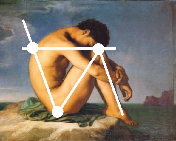 Giovane uomo seduto in riva al mare, Hippolyte Flandrin, 1836, Louvre. When art inspires a project... read more: http://myartistic.blogspot.com/2012/03/sedia-design-ariva-manuel-barbieri.html