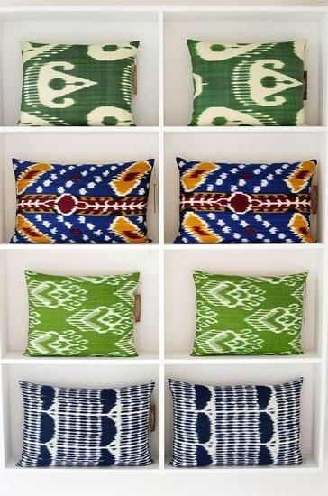Ikat cushions. Yastik by Rifat Ozbek