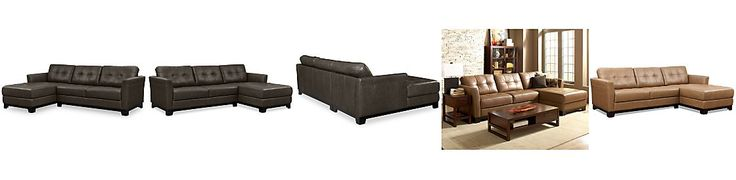 Martino Leather Chaise Sectional Sofa, 2 Piece (Apartment Sofa and Chaise)