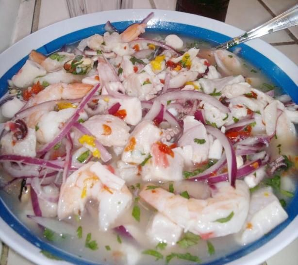 "Peruvian Mixed Cebiche (Ceviche Mixto) from Food.com: The Best!!!  								This is the ""Peruvian cebiche mixto"" you will find in Peruvian restaurants."