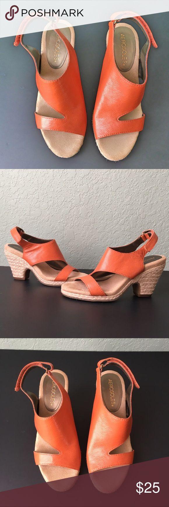 """Aerosoles Orange Sandal Wedges Aerosoles Orange Sandal Wedges ~ Velcro Ankle Straps ~ Size 6 ~ 3"""" Wedge Heel AEROSOLES Shoes Wedges"""