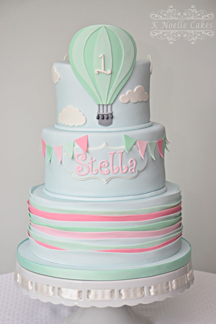 1st Birthday cake with hot air balloon theme by K Noelle Cakes