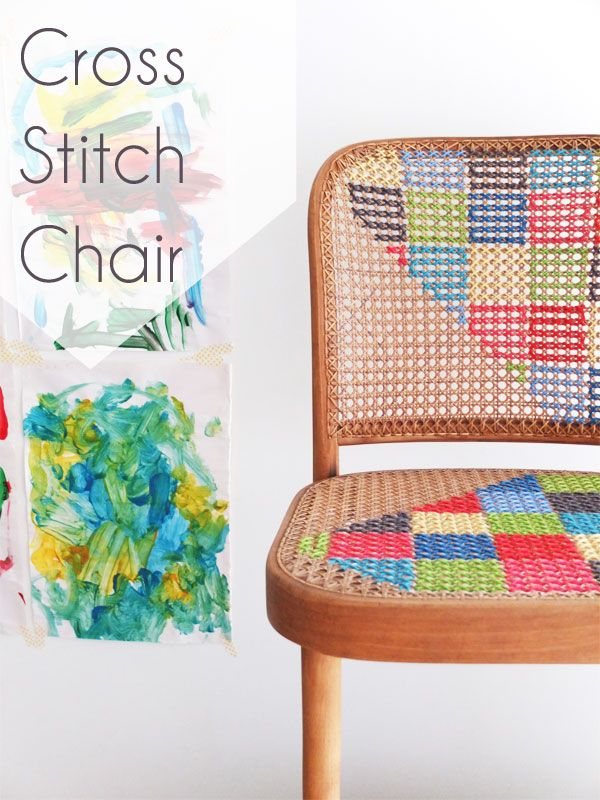 cross stitch chair upcycle makeover
