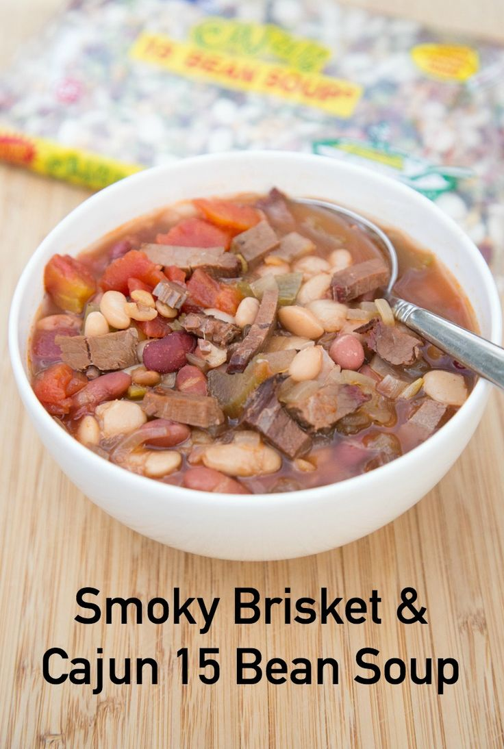 Slow Cooker Smoky Brisket & Cajun 15 Bean Soup – Big Flavor for the Big Game!