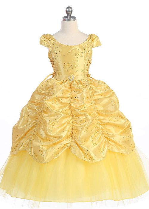 Yellow Gorgeous Princess Girl Dress/ would be great for a Beauty and the Beast Party