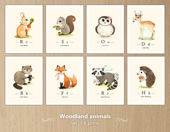 Woodland Animals Print Set Forest By Joojoo