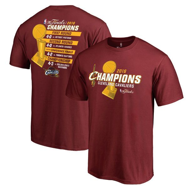 Men's Cleveland Cavaliers Burgundy 2016 NBA Finals Champions All Score T-Shirt 1