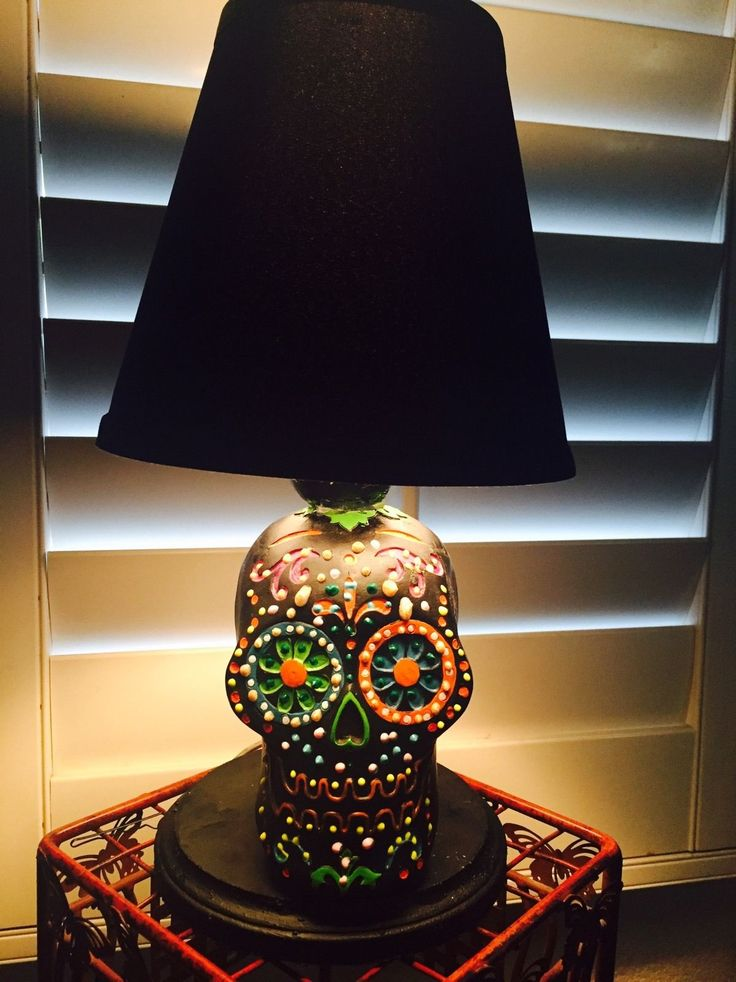 OOAK Day Of The Dead Sugar Skull Lamp - My Sugar Skulls