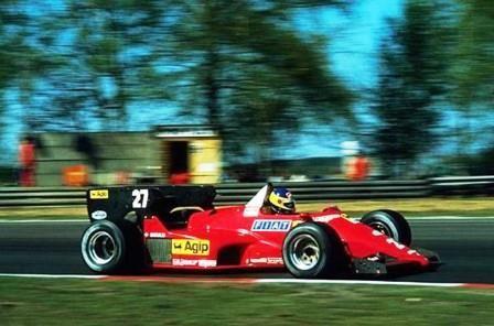 Michele Alboreto driving a Ferrari 126C4 to win the Belgian Grand Prix at the last race at Zolder on 29 April 1984.