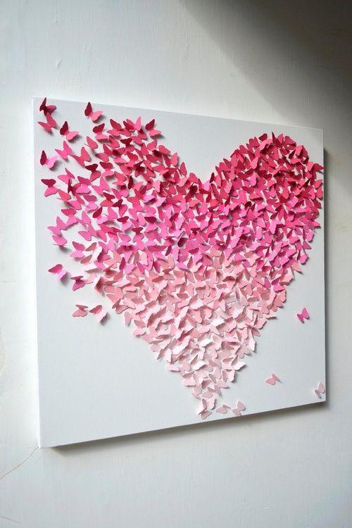 ombre heart art using butterfly puncher + construction paper! #diy