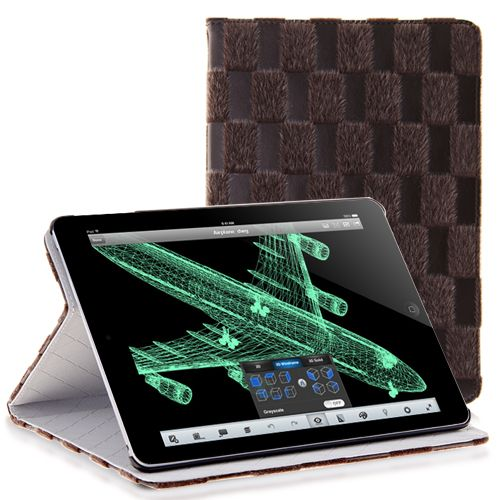 Grid Trimmed Fur PU Leather Stand Case for iPad Air #leathercase #ipadcase #ipadair #cellz.com $8.25