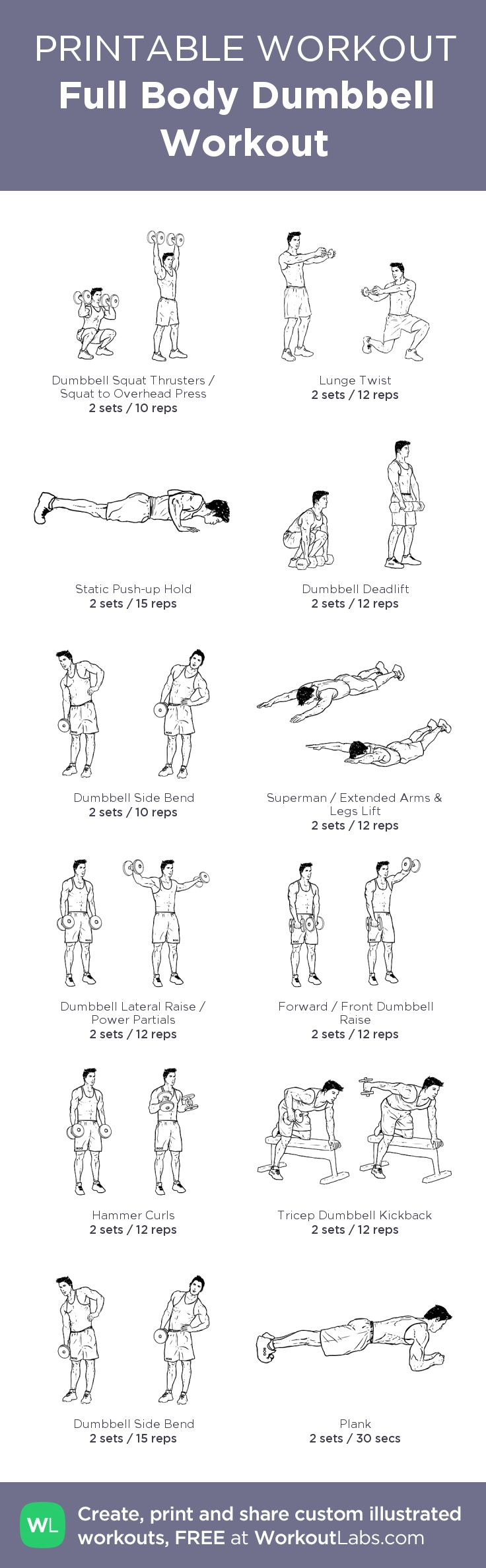 Full Body Dumbbell Workout:my visual workout created at WorkoutLabs.com • Click through to customize and download as a FREE PDF! #customworkout