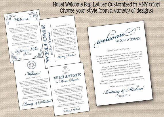 Wedding Welcome Letters Wedding Welcome Note Wedding Welcome