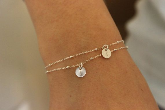 Tiny initial bracelet, sterling silver bracelet, two initials, tiny bracalet, bridesmaid gift, delicate bracelet, monogram, tiny disc