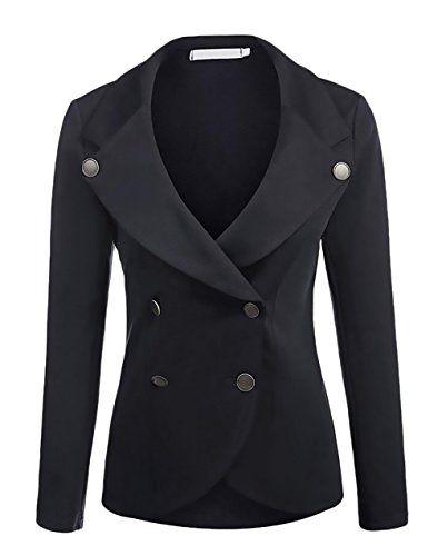 Blazer Femme Chic Manches Longues Lapel Col V Slim Fit Double Boutonnage  Vintage Woman Formelle Affaires 1e37e87b877b