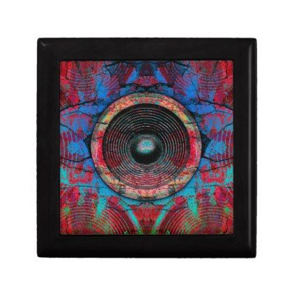 Red music speakers on a cracked wall jewelry box - patterns pattern special unique design gift idea diy