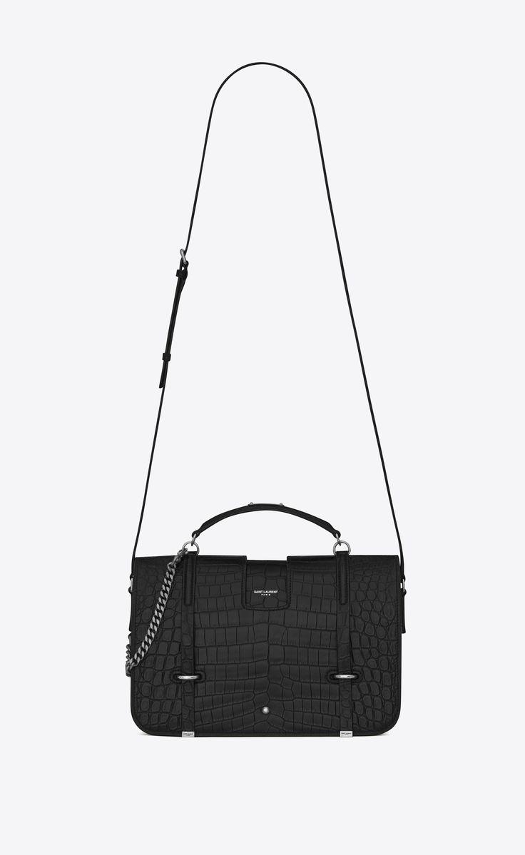 Saint Laurent Large Charlotte Messenger Bag In Black Crocodile Embossed Leather | YSL.com