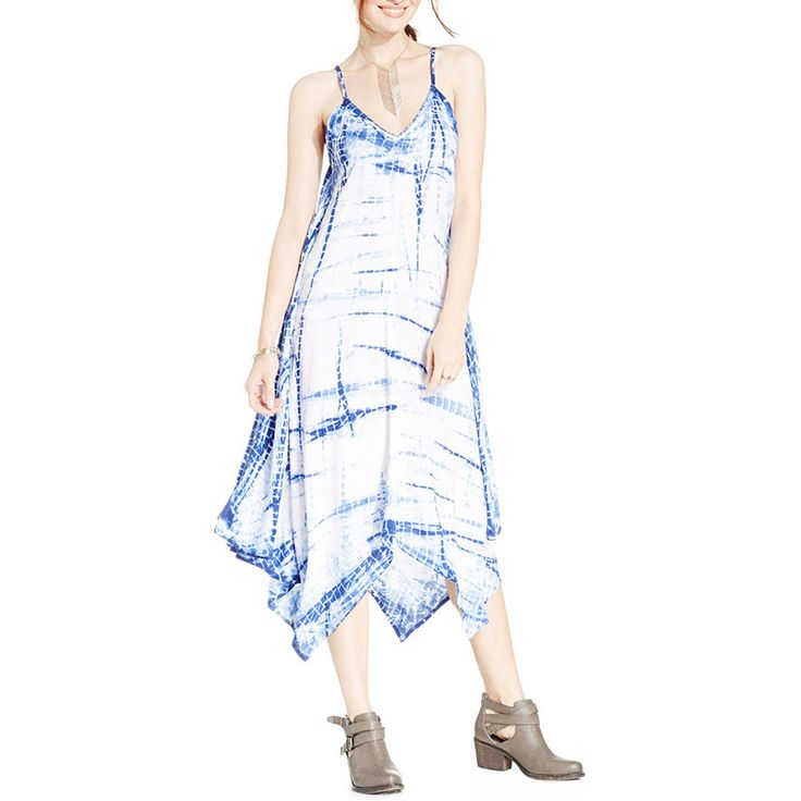 American Rag Tie Dye Asymmetrical Hem Maxi Dress #Asymmetric #Blue #Summer #Maxi