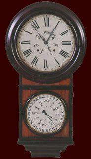 war antique clock showing time and month and day    ... clocks walnut clocks waterbury clocks gilbert clocks ingraham clocks
