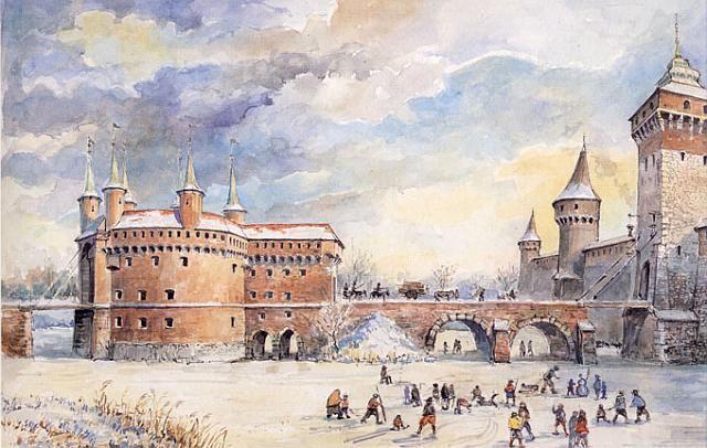 krakowski Barbakan na akwarelce z XIX w. budowla pochodzi z ostatniej dekady XV w. (sic!); strzeliste wieżyczki wyrastające z cylindrycznego wykuszu wykończonego machikułami