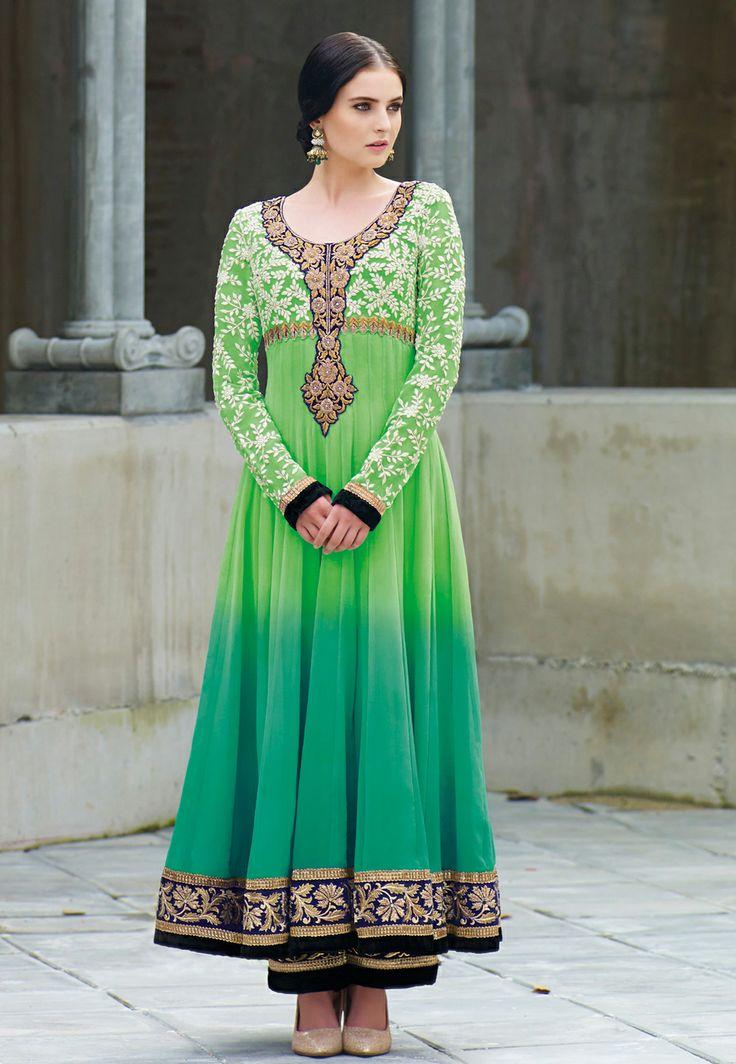 Shaded #Green Faux #Georgette #Anarkali #Churidar Kameez Itemcode: KWY691 Price: $160.04 #Shop Now @ http://www.utsavfashion.com/salwar/shaded-green-faux-georgette-anarkali-churidar-kameez/kwy691-itemcode