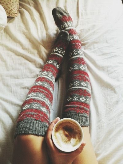 Yes, another picture of socks & hot chocolate!