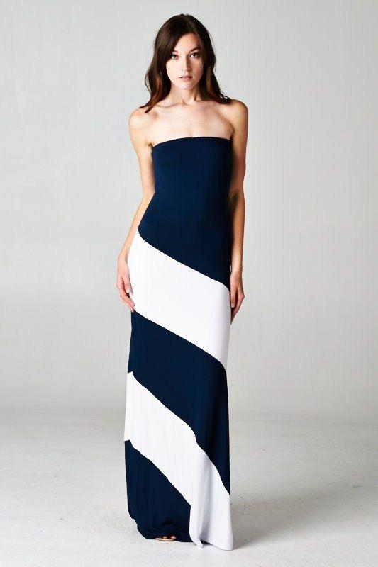 Navy & White Stripe Strapless Maxi Dress