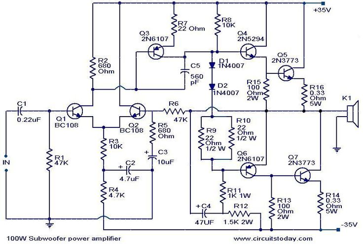 100 w subwoofer amplifier circuit AMPLIFIER Pinterest