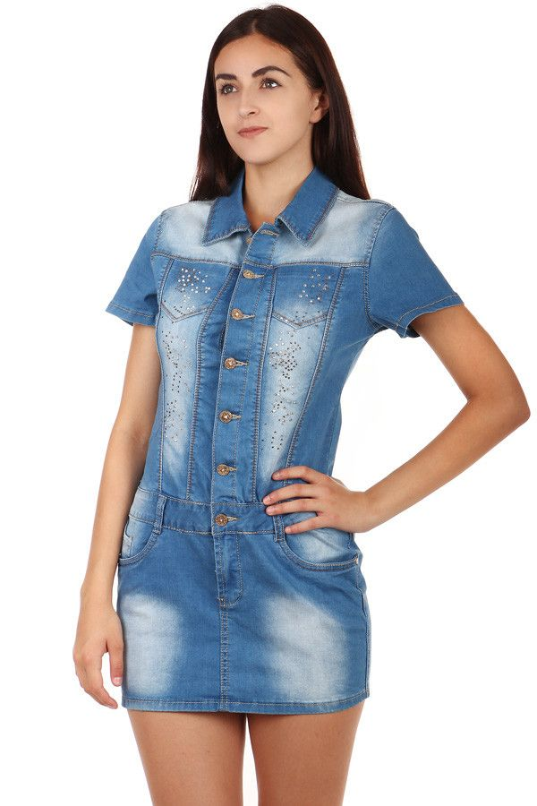 a81c232e79d Dámské riflové propínací šaty s krátkým rukávem - koupit online na Glara.cz   damskesaty