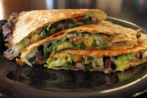 Roast Turkey And Black Bean Quesadillas Recipe — Dishmaps