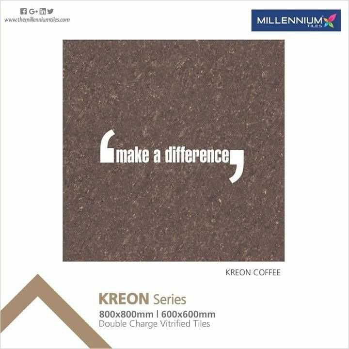 Inspired by nature & rocks along with a wide range of special pieces.  Kreon Coffee - Millennium #Tiles Double Charge Vitrifed #PorcelainTiles Kreon Series available in 2 formats: 600x600mm (24x24) & 800x800mm (32x32) and 11 stunning colours. Double Charge Vitrified Tiles are fed through a press that prints the pattern with a double layer of pigments, 3-4 mm thicker than other tiles, this process does not permit complex patterns but results in a long term brilliant tiles surface.