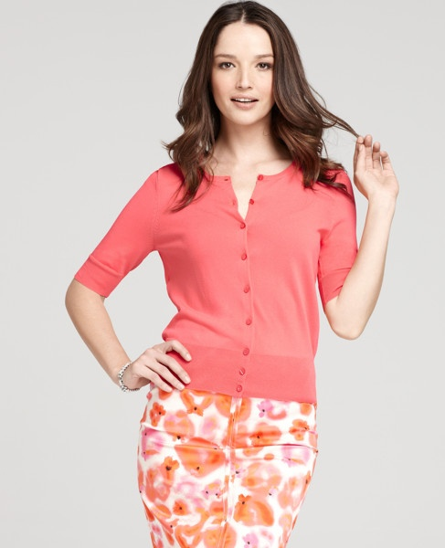 The sweater from Ann Taylor for the Coral Classic Look: Cardigans Blazers Oth Outwear, Summer Style, This Summer, Summer Cardigans, 10 Wardrobes, The Offices, Cardigansblazersoth Outwear, Work Outfits, Anne Taylors