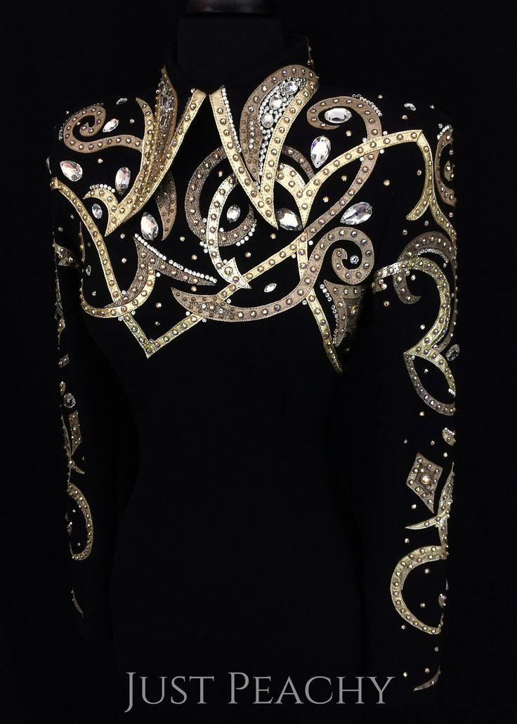 Black and Gold Western Horsemanship Shirt by Carolina Beverly Hills ~ Just Peachy Show Clothing