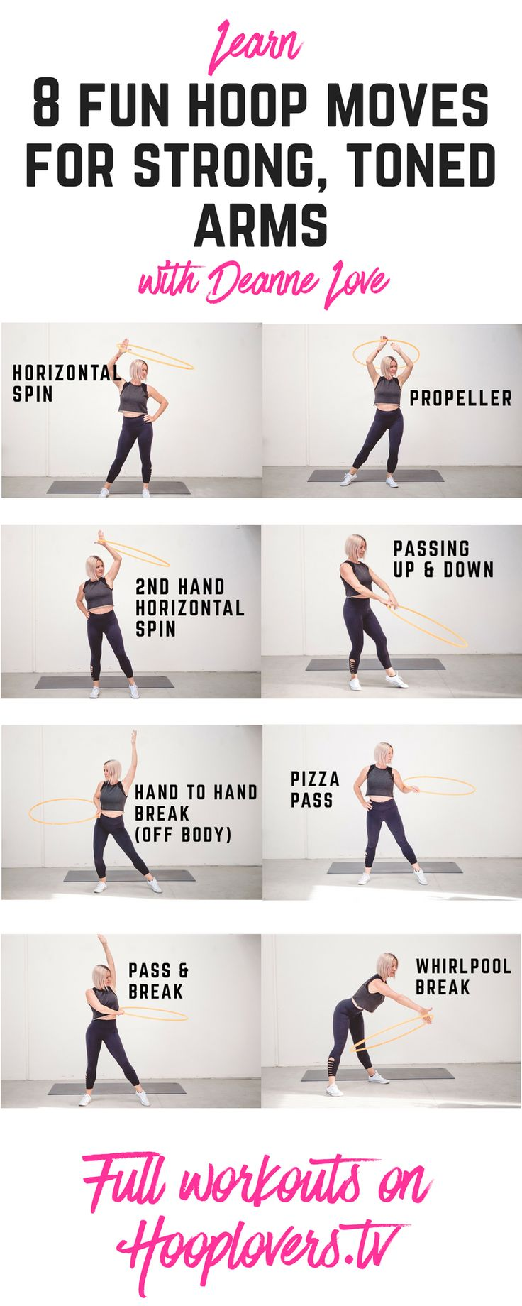 Strong is the new everything! And that is exactly what you are going to be feeling when you combine these hoop dance moves with the weight of your spinning hoop.