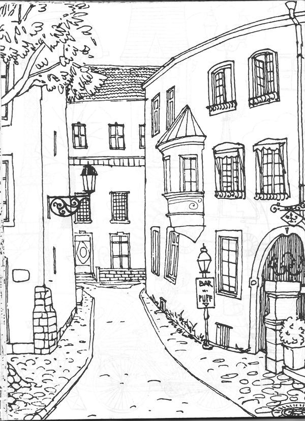 Architecture colouring page