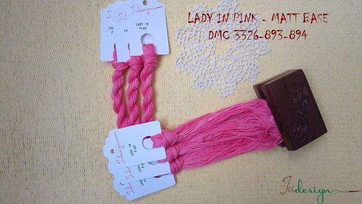 Hand painted matt cotton floss LADY IN PINK hand dyed thread for embroidery, cross stitch, punto cruz, point de croix, blackwork by xJudesign on Etsy