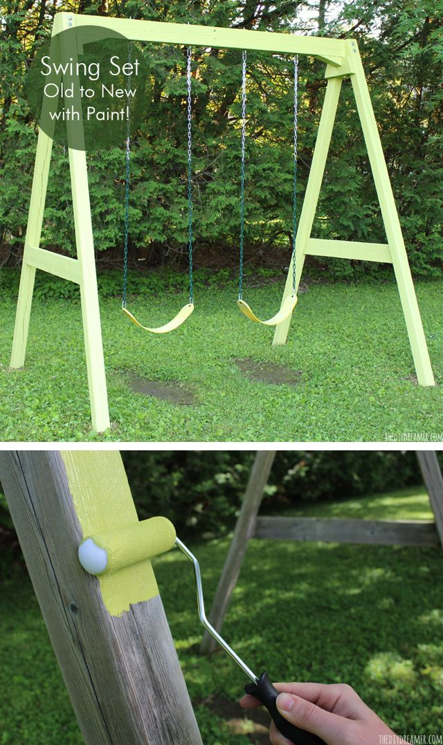 give your backyard a breath of new life with this easy backyard swing set makeover
