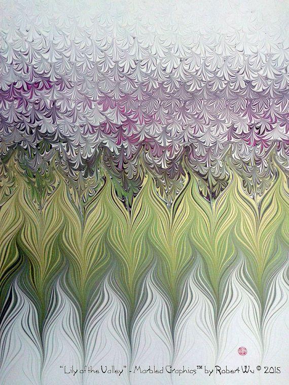 Lily of the Valley Original Marbling Art Hand by StudioRobertWu