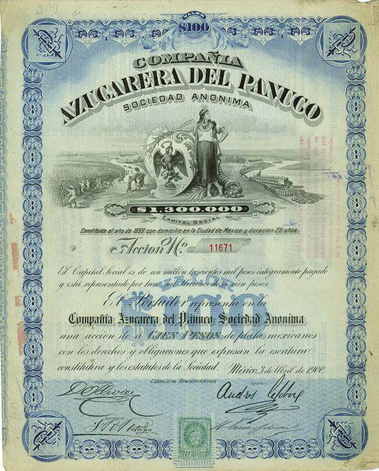 HWPH AG - Acciones antiguas - Compañia Azucarera del  Panuco Sociedad Anonima / AZP3MEX001 100 Pesos, México 03.04.1900