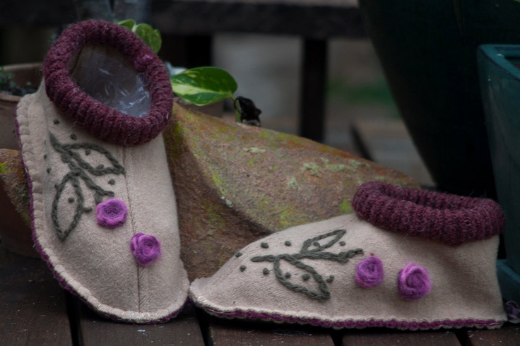 I have knitted felted slippers, but these are from a recycled sweater, felted, and sewn.