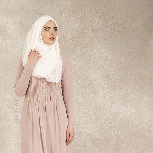 INAYAH | Pale Blush Georgette #Abaya + Off-White Georgette #Hijab