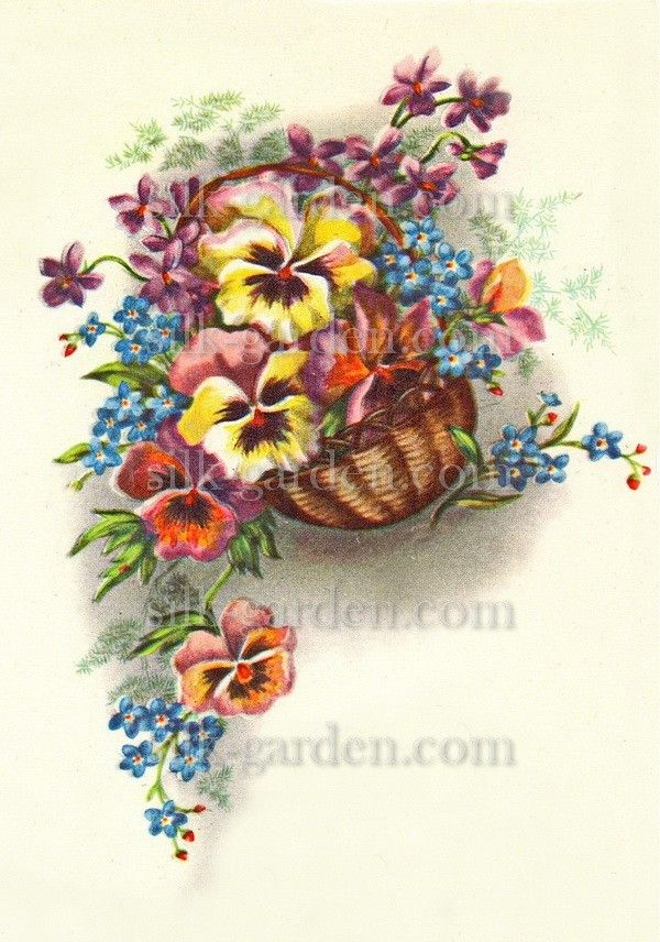 Принт Маленький букет РО-Б-71 (ткань с рисунком) для вышивания лентами - купить по низкой цене в магазине Шелковый сад