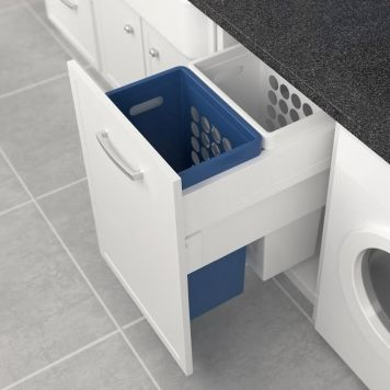 Tanova Deluxe Pull Out Laundry System 450mm Cabinet 2x40L Plastic Hampers | Access Group NZ