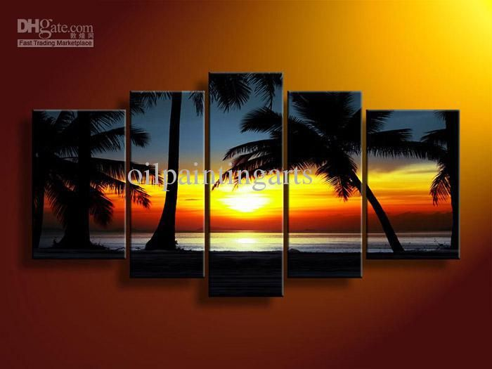 Wholesale Painting - Buy 5 Panel Wall Art Seascape Sunset Blue Oil Painting On Canvas Acrylic Paint Modern Acrylic Paintings, $51.2   DHgate