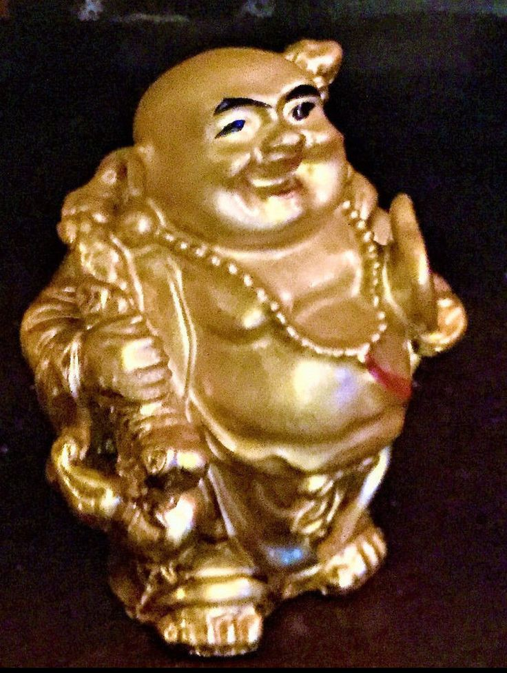 "Lucky gold Chinese Buddha 3"" Statue feng shui figurine add on figure gift extra"