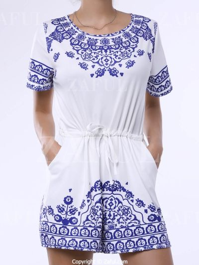Great Wall Print Blue And White Porcelain Playsuit BLUE: Rompers | ZAFUL